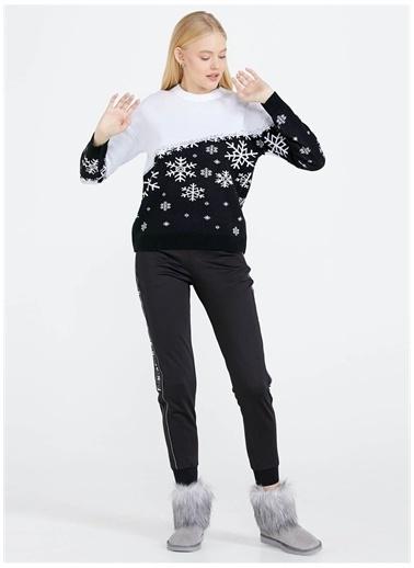 Sementa Sementa Yuvarlak Yaka Desenli Siyah - Beyaz Kadın Kazak Renkli